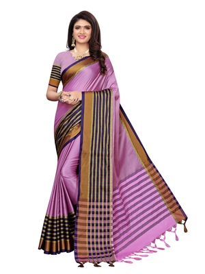 Violet woven poly silk saree with blouse