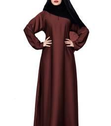Justkartit Peach Color Occasion Wear Plain Nida Abaya Burka With Chiffon Hijab Scarf For Women