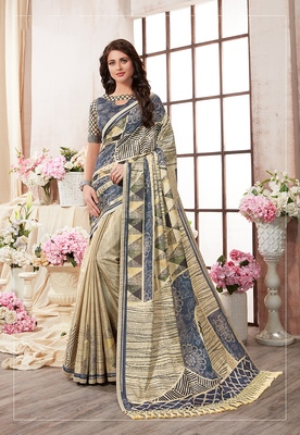 Multicolor printed kanjivaram art silk saree with blouse