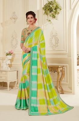 Multicolor printed kanjivaram art silk saree with blouse