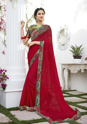 Dark red printed chiffon saree with blouse