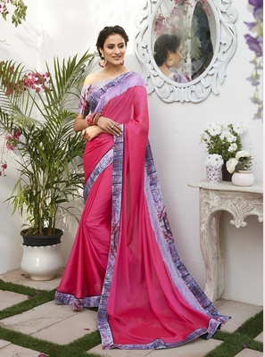 Dark pink printed chiffon saree with blouse