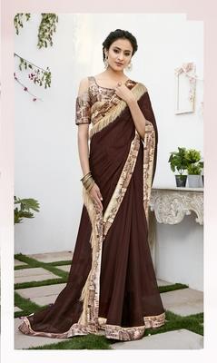 Brown printed chiffon saree with blouse