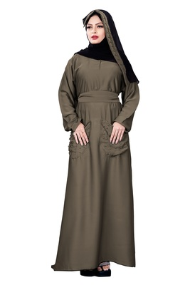 Justkartit Ivory Color Plain Nida Abaya Burka With Pocket And Belt Style For Women