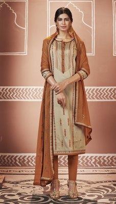 Beige Embroidered Silk Blend Salwar