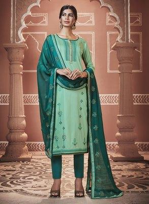 Light-green embroidered silk blend salwar