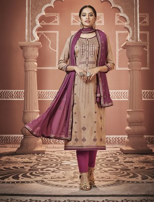 Beige embroidered silk blend salwar