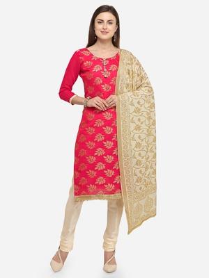 Pink jacquard chanderi salwar