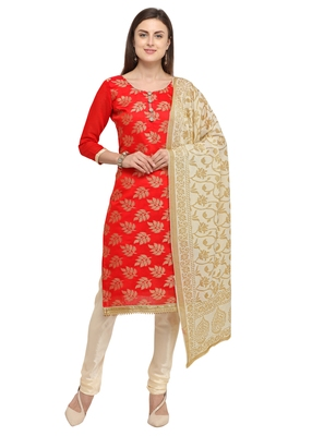Red jacquard chanderi salwar