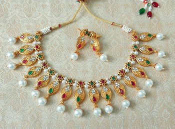 Lalso Beautiful Delicate Pearl Drop Multicolor Necklace Earring Jewelry Set - LDN22_MG