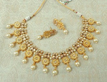 Lalso Beautiful Delicate Pearl Drop Golden Necklace Earring Jewelry Set - LDN24_LCT