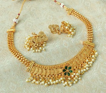 Lalso Beautiful Gold Plated Green Delicate Jalebi Bandhani Necklace Earring Jewelry Set - LJBDN01_GR