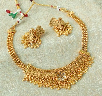 Lalso Beautiful Gold Plated Golden Delicate Jalebi Bandhani Necklace Earring Jewelry Set - LJBDN01_LCT