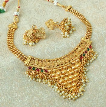 Lalso Beautiful Gold Plated Multicolor Delicate Jalebi Bandhani Necklace Earring Jewelry Set - LJBDN02_KG