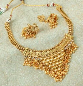 Lalso Beautiful Gold Plated Golden Delicate Jalebi Bandhani Necklace Earring Jewelry Set - LJBDN02_LCT