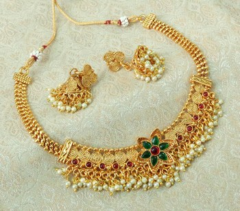 Lalso Beautiful Gold Plated Multicolor Delicate Jalebi Bandhani Necklace Earring Jewelry Set - LJBDN03_KG
