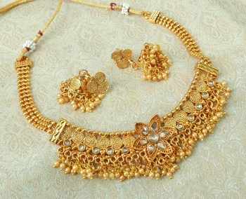 Lalso Beautiful Gold Plated Golden Delicate Jalebi Bandhani Necklace Earring Jewelry Set - LJBDN03_LCT