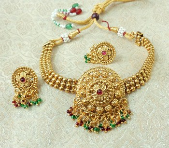 Lalso Beautiful Gold Plated Multicolour Ball Chain Delicate Chick Necklace Earring Jewelry Set - LBCCSS04