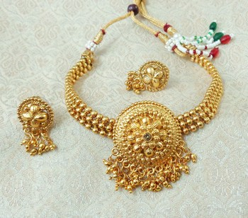 Lalso Beautiful Gold Plated Golden Ball Chain Delicate Chick Necklace Earring Jewelry Set - LBCCSS05
