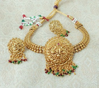 Lalso Beautiful Gold Plated Multicolour Ball Chain Delicate Chick Necklace Earring Jewelry Set - LBCCSS07