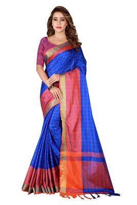 Blue printed silk saree with blouse