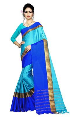 Sky blue printed cotton saree with blouse