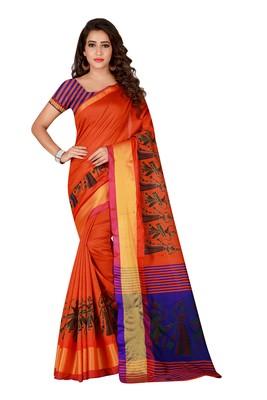 Orange printed polyester saree with blouse