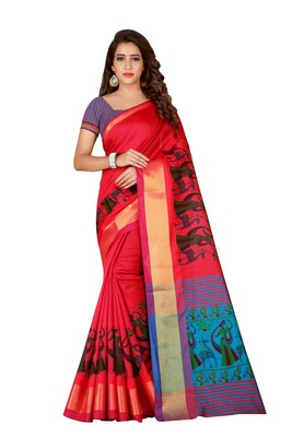 Pink printed polyester saree with blouse