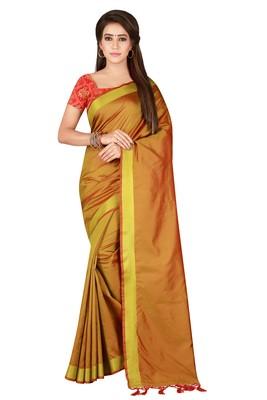 Golden printed banarasi silk saree with blouse
