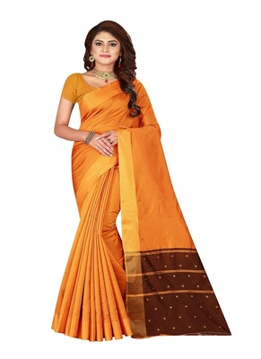 Gold printed cotton silk saree with blouse