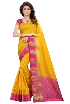 Yellow printed nylon saree with blouse