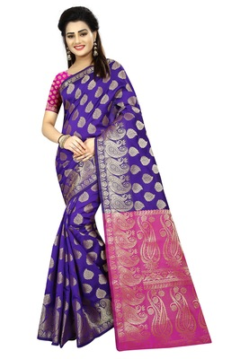 Purple printed jacquard saree with blouse