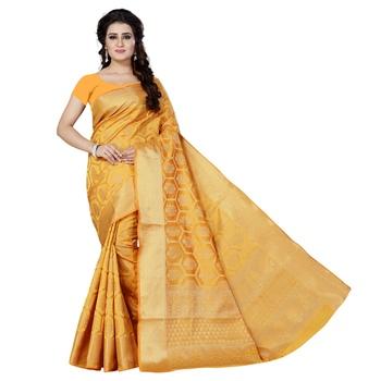 Yellow printed jacquard saree with blouse
