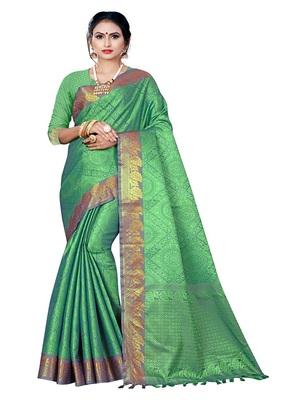 Green printed banarasi silk saree with blouse
