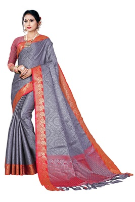 Grey printed banarasi silk saree with blouse