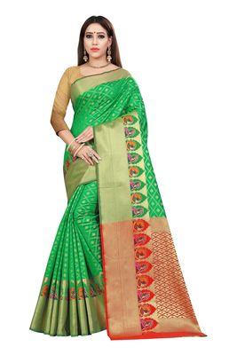 Green printed kanchipuram silk saree with blouse
