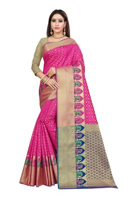 Pink printed kanchipuram silk saree with blouse