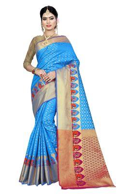 Sky blue printed kanchipuram silk saree with blouse