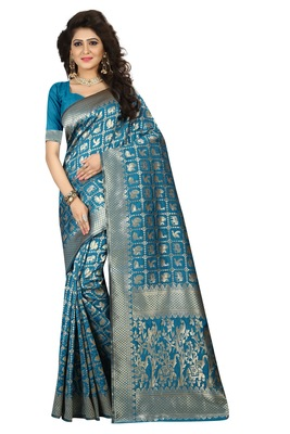 Sky blue printed jacquard saree with blouse