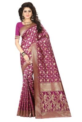 Magenta printed jacquard saree with blouse