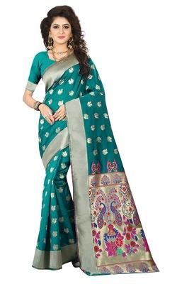 Sky blue printed jacquard saree with blouse