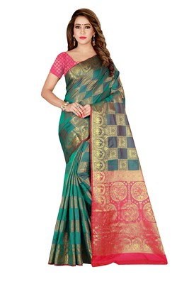 Green printed art silk saree with blouse