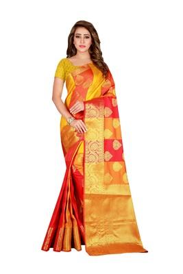 Yellow printed banarasi silk saree with blouse