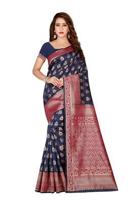 Blue printed banarasi silk saree with blouse