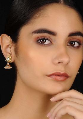 Gold Tone Kundan Inspired Jhumkis