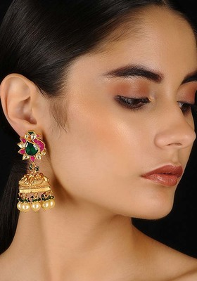 Multicolored Gold Tone Kundan Inspired Jhumkis