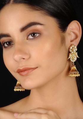 Gold Tone Kundan Inspired Jhumka