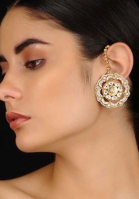 Gold Tone Kundan Inspired Stud Earrings