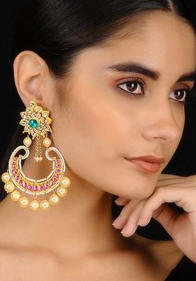 Green-Pink Gold Tone Kundan Inspired Chaandbali Earrings