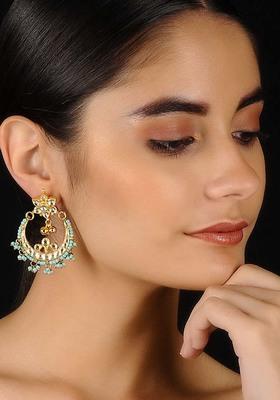 Turquoise Gold Tone Kundan Inspired Chaandbali Earrings